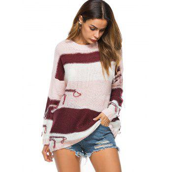 Crew Neck Drop Shoulder Color Block Distressed Tunic Sweater - ONE SIZE ONE SIZE