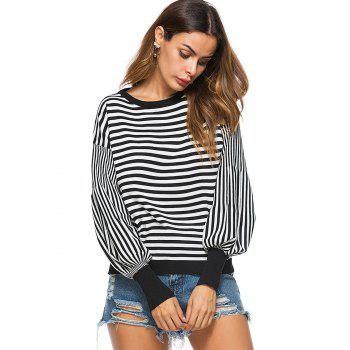 Puff Sleeve Striped Crew Neck Sweater - BLACK ONE SIZE