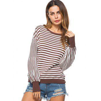 Puff Sleeve Striped Crew Neck Sweater - COFFEE ONE SIZE