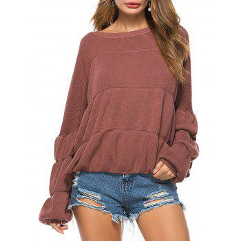 Puff Sleeve Crew Neck Sweater - BRICK-RED ONE SIZE