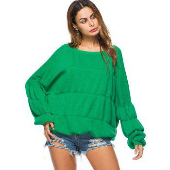 Puff Sleeve Crew Neck Sweater - ONE SIZE ONE SIZE