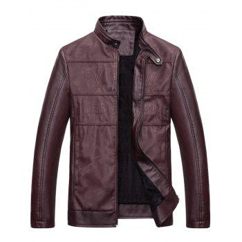 Graphic Stand Collar Faux Leather Jacket - WINE RED WINE RED