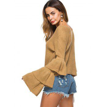 Convertible  Neck Bell Sleeve Knit Sweater - KHAKI ONE SIZE