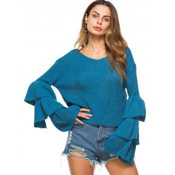 Convertible  Neck Bell Sleeve Knit Sweater - LAKE BLUE ONE SIZE