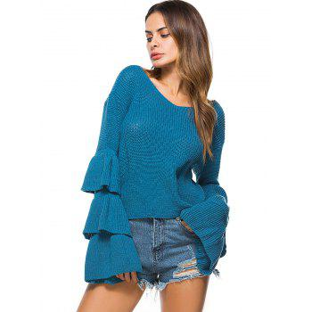 Convertible  Neck Bell Sleeve Knit Sweater - ONE SIZE ONE SIZE