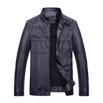Graphic Stand Collar Faux Leather Jacket - BLUE BLUE