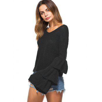Convertible  Neck Bell Sleeve Knit Sweater - BLACK ONE SIZE