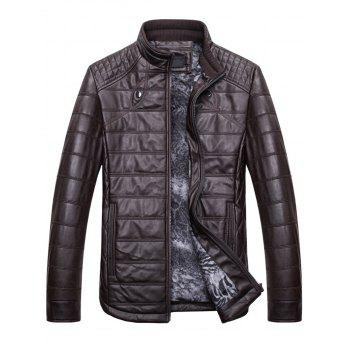 Zipper Stand Collar Faux Leather Jacket - COFFEE L