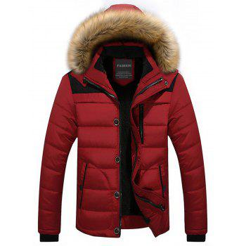 Zip Up Faux-fur Hooded Puffer Jacket - RED RED