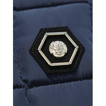 Hooded Metal Patched Puffer Jacket - BLUE 2XL