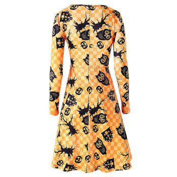 Owl and Pumpkin Print Halloween Swing Dress - YELLOW L