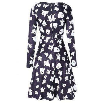 Long Sleeve Ghost Print Halloween Swing Dress - Noir L