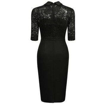 Floral Lace Panel See Thru Pencil Dress - BLACK M