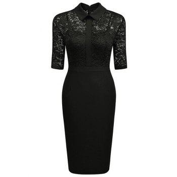 Floral Lace Panel See Thru Pencil Dress - BLACK BLACK