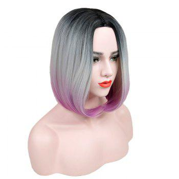 Short Center Parting Straight Ombre Bob Synthetic Wig - COLORMIX