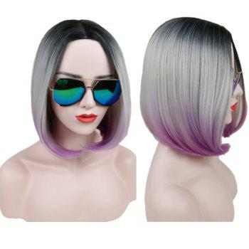 Short Center Parting Straight Ombre Bob Synthetic Wig - COLORMIX COLORMIX