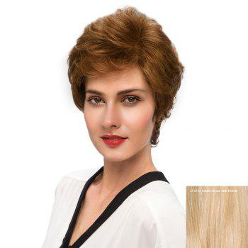 Short Inclined Bang Fluffy Slightly Curly Human Hair Wig - GOLDEN BROWN WITH BLONDE GOLDEN BROWN/BLONDE