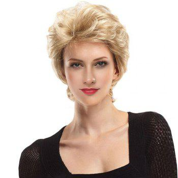Short Side Fringe Fluffy Slightly Curly Lace Front Human Hair Wig - GOLDEN BROWN WITH BLONDE GOLDEN BROWN/BLONDE