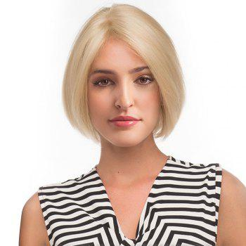 Middle Part Straight Short Bob Human Hair Lace Front Wig - GOLDEN BROWN WITH BLONDE GOLDEN BROWN/BLONDE