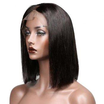 Center Parting Short Straight Bob Real Human Hair Lace Front Wig - NATURAL BLACK NATURAL BLACK