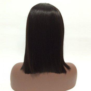 Center Parting Short Straight Bob Real Human Hair Lace Front Wig -  NATURAL BLACK