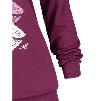 Plus Size Colorful Lips Graphic Hoodie - PURPLE XL