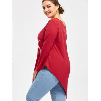 Plus Size Merry Christmas Deer Asymmetric T-shirt - RED 5XL