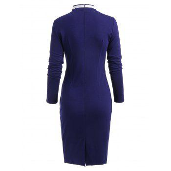 Double Breast Long Sleeve Vintage Pencil Dress - BLUE S
