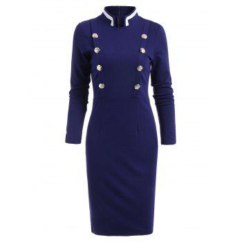 Double Breast Long Sleeve Vintage Pencil Dress - BLUE M