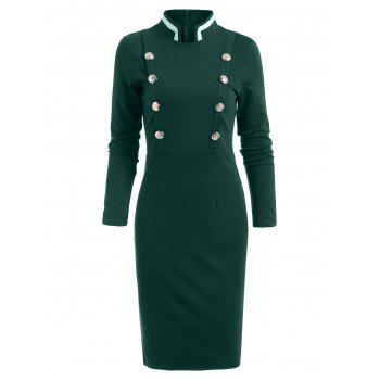 Double Breast Long Sleeve Vintage Pencil Dress - GREEN 2XL
