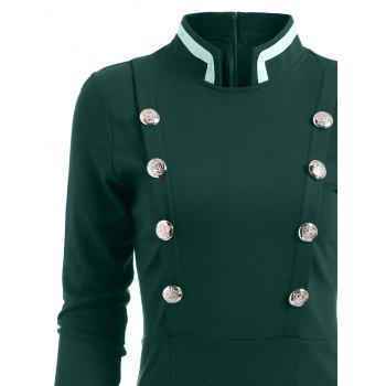 Double Breast Long Sleeve Vintage Pencil Dress - GREEN M