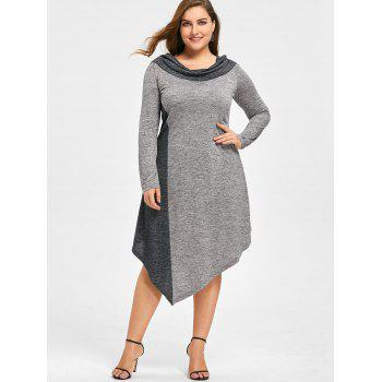 Plus Size Marled Asymmetrical Jersey Dress - BLACK/GREY 5XL