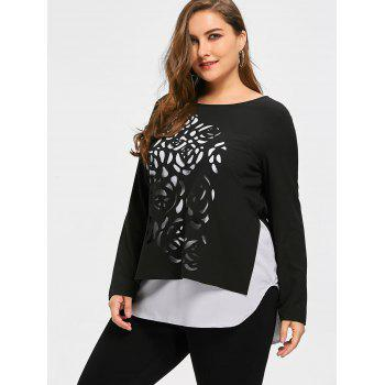Top Size Two Tone Cutwork Top - Noir XL