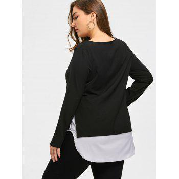 Top Size Two Tone Cutwork Top - Noir 4XL