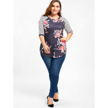 Striped Raglan Sleeve Plus Size Floral Top - BLACK BLACK