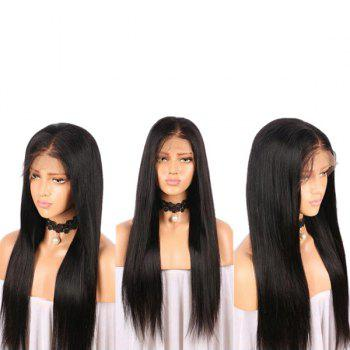 Long Middle Part Straight Real Human Hair Lace Front Wig - BLACK BLACK