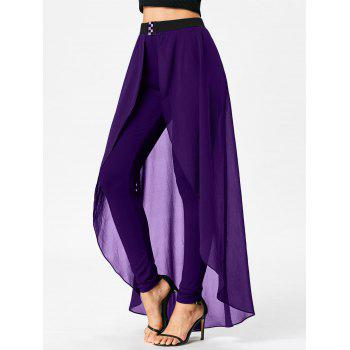 High Waist Slimming Pants with Skirt - PURPLE M