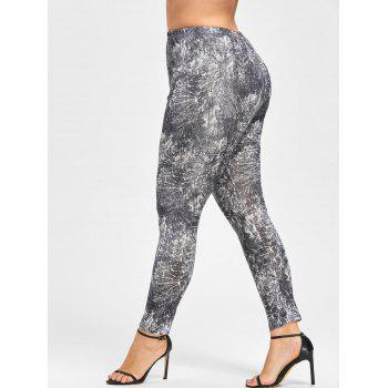 Plus Size Tie Dye Leggings - BLACK WHITE 2XL