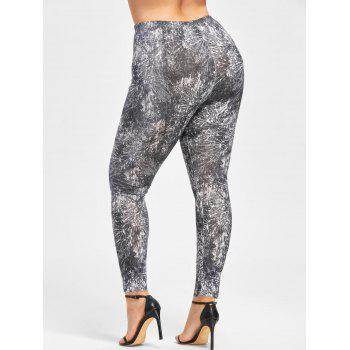 Plus Size Tie Dye Leggings - BLACK WHITE 3XL