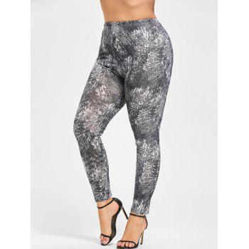 Plus Size Tie Dye Leggings - BLACK WHITE 4XL