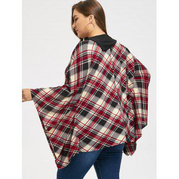 Kangaroo Pocket Plaid Plus Size Cape Top - Carré 2XL