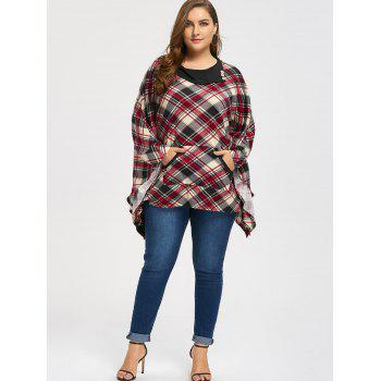Kangaroo Pocket Plaid Plus Size Cape Top - Carré 3XL
