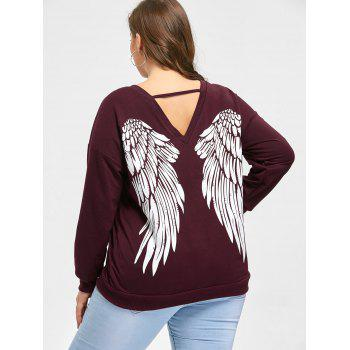Plus Size Wings Print Lace Up Sweatshirt - DARK RED XL