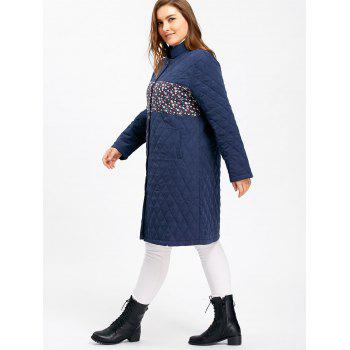 Plus Size Floral Panel Textured Padded Coat - BLUE 4XL