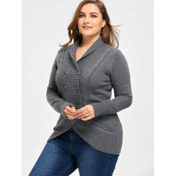 Plus Size Shawl Collar Double Breasted Cardigan - DEEP GRAY 2XL