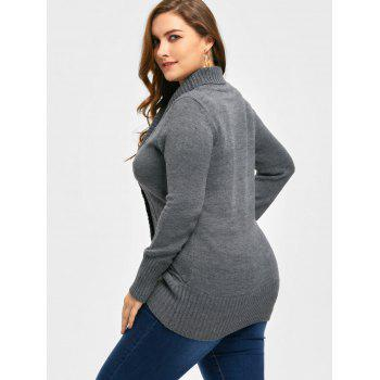 Plus Size Shawl Collar Double Breasted Cardigan - DEEP GRAY DEEP GRAY