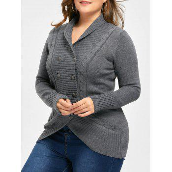 Plus Size Shawl Collar Double Breasted Cardigan - DEEP GRAY 4XL