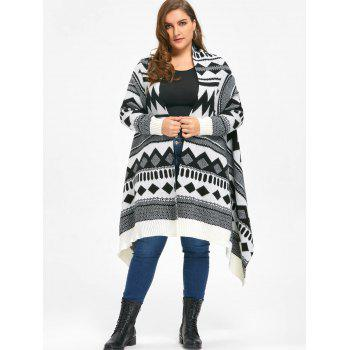 Plus Size Monochrome Geometric Cardigan - WHITE/BLACK 5XL