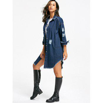 Distressed Frayed Hem Denim Coat - L L