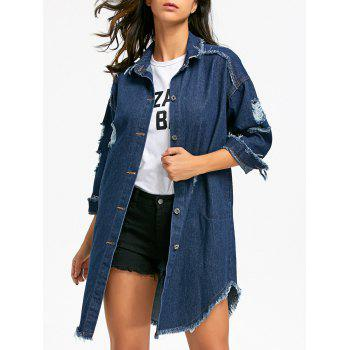 Distressed Frayed Hem Denim Coat - DENIM BLUE L